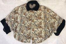 Womens Leopard W/ Fur Trim Cape Jacket Swing Coat Missy One Size Tan Black Borwn