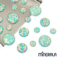 [WHOLESALE] SYNTHETIC OPAL LIGHT TURQUOISE ROUND SHAPE CABOCHON VARIOUS SIZE