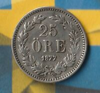 1877 Sweden 25 Öre-- 60% Silver--- Only 894,000 Minted- Awesome Condition~