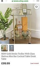 2 Tier Glass Tops Round Cocktail Trolley Bar In Gold On Wheels Brand New In Box