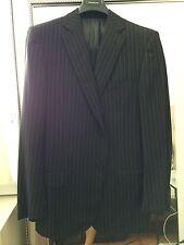 Ermenegildo Zegna Black with Pinstripe Suit, Size 44 L, 100% Wool