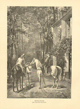 Horses, Traveling, Refreshments At The Inn, Vintage 1888 Antique Art Print,