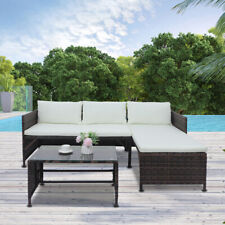 3 Pieces Outdoor Sectional Sofa Set Chaise Lounge Wicker Patio Furniture Garden