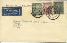 Barbados SG#230,#236,#237 G.P.O. 3/AU/33 Airmail to USA via Trinidad