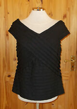 PER UNA black stretch pleat layered short sleeve v neck tunic blouse top 14 42