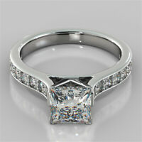 2.32 Ct Princess Solitaire Diamond Wedding Ring 14K Real White Gold Rings +10