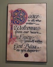 Contemporary Celtic Plaque: Peace to All  12 x 18 Book of Kells Lettering