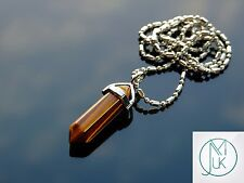 Tigers Eye Crystal Point Pendant Natural Gemstone Necklace Healing Stone Chakra