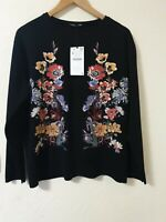 Zara Floral Print Oversized Relaxed Fit Jumper Top Size M 12 14