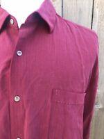 Nat Nast American Fit Men's 100% Silk Maroon Long Sleeves Shirt Size XL
