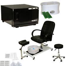 Black Pedicure Chair Hot Towel Warmer Sterilizer Paraffin Wax Salon Equipment