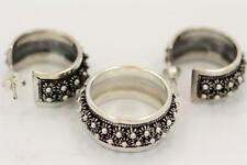 Handmade Bali Double Plumeria Sterling Silver 925 Hoop/Band Earring and Ring Set