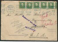 Czechoslovakia, 1934 Cover sent to Toronto, Wrong Address, 12 Postal Markings