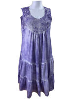 Orientique Size 14 Mauve White Tie Dyed Tiered Smock Dress 100% Cotton Midi Lgth