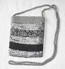 VINTAGE 80S SMALL EVENING GLASS BEAD GREY & BLACK SHOULDER BAG GOTH PARTY CHIC