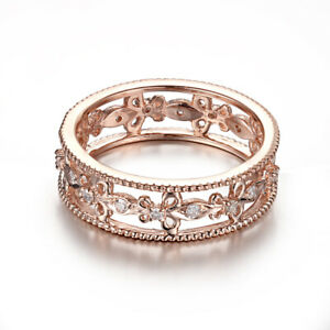 Solid 18K Rose Gold Anniversary Jewelry Band Setting 0.2ct Natural Diamond Ring