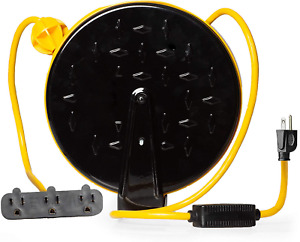 30 Ft Retractable Extension Cord Reel 3 Electrical Power Outlets Hanging Ceiling