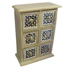 Handmade Mosaic Glass 6 Draw Unit 40x28cm Limewash Mango Wood Mini Draws