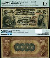 Pittsburgh PA-Penn $100 1882 BB National Bank Ch#1057 Exchange NB PMG Ch F15 NET