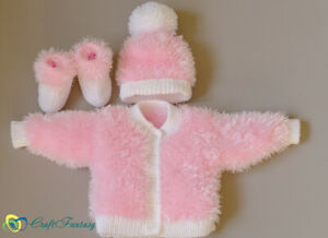 Hand Knitted Baby Eyelash Fluffy Cardigan Hat Booties Set Knit To Order