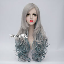 70CM Gray Mixed Blue Long Curly Hair Lolita Women Cosplay Wig Heat Resistant