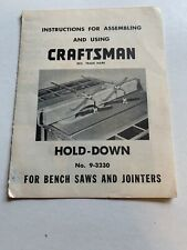 Vintage Craftsman 9-3230 Table Radial Saw Hold Down- Instructions Free Shipping