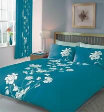 Luxury Reversible Double Bed Duvet Cover Quilt Bedding Linen Set Chantilly Teal