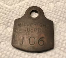 Antique Vtg Brass Tool Lockout Tag Millwright Dept #106 Western Electric Chicago