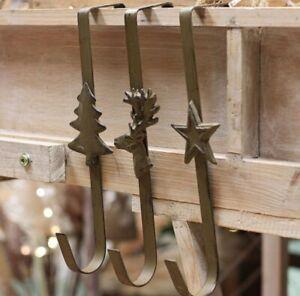 Christmas Wreath Hanger Over Door Metal Hook Bronze Gold - Stag / Star / Tree