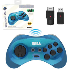 SEGA Saturn® 8-Button Arcade Pad - 2.4 GHz Wireless - Clear Blue