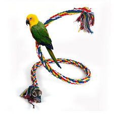 1M Parrot Cotton Rope Coil Swing Bird Cage Conures Budgie Cockatiel Perch Toy DH