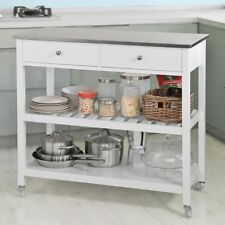 SoBuy® Kitchen Storage Serving Trolley Cart with Stainless Steel Top,FKW47-W,UK