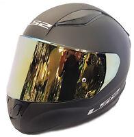 LS2 FULL FACE MOTORCYCLE CRASH HELMET MATT BLACK WITH GOLD IRIDIUM TINTED VISOR