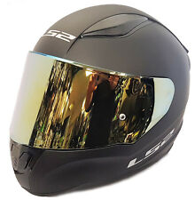 LS2 FULL FACE MOTORCYCLE CRASH HELMET MATT BLACK WITH GOLD IRIDIUM TINTED VISOR