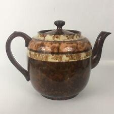 Coffee Tea Pot Lid Stripe Rings Decor Retro Earthenware Brown England 6.5�T X 9�