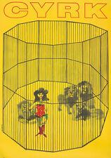 Original Vintage Poster Waldemar Swierzy Polish Cyrk Lion Tamer Circus