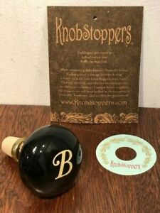 New! Black Vintage Doorknob Winestopper with White Monogram By Knobstoppers