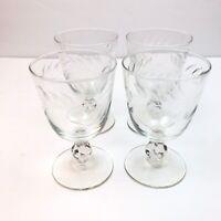 Vintage 4 Goblet Wine Cups Etched Cut Leaf Vine Leaves Footed