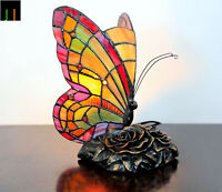 Light Up April Sale JT Tiffany Red Butterfly Stained Glass Table Lamp Leadlight