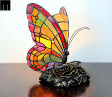 Christmas Sale - Tiffany Red Butterfly Accent Stained Glass Table Lamp