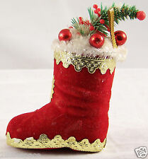 Flocked Red Boot Stocking Xmas Tree Ornament Holiday Decoration Plastic Vintage