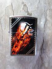 "Zippo  ""SKULL / FIRE""  - Street  Chrome - NEU & ovp - #502"