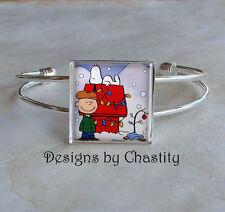 Charlie Brown Christmas Bracelet Bangle Glass Vintage Altered Art Snoopy Tree