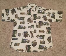 Mens Woolrich Fishing Themed Bait and Tackle Camp Shirt Size Large White