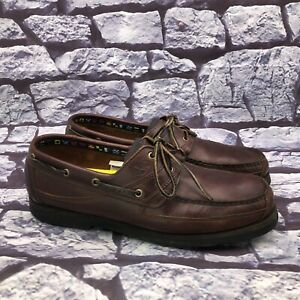 Timberland Echo Bay Men's Brown Leather Two Eye Lace Up Deck Boat Shoes Size 14