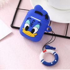 Silicone Cover Protective Case Apple Airpods GEN 1 2 Earpods Donald Duck Cartoon