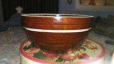 "Vintage RICH Brown GLAZE Stoneware 9"" Mixing Bowl MARKED USA 9"""