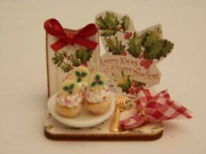 Dolls house food: Christmas holly cupcakes  display board -By Fran
