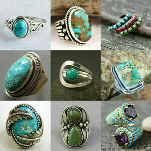 Fashion 925 Silver Turquoise Rings for Women Wedding Engagement Jewelry Sz 6-10