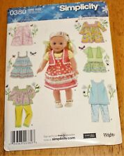 "Simplicity Pattern #0380 Clothing For 18"" Dolls - New - 7 Outfits Pants, Skirts"